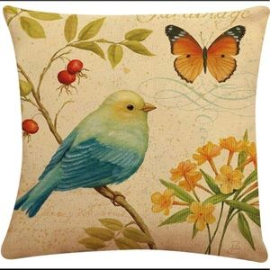 NEW! Set of 2 Bird Theme Butterflies Pillow Covers